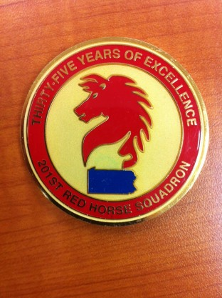 Troop challenge coin...protocol says have it at the bar or you will have to pay for the round
