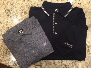 Space Dye and Stripe Trim Solid Navy SS Shirts